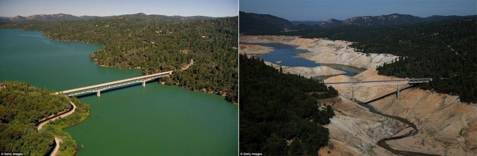 100B. A section of Lake Oroville shows the millennium's worst drought in Oroville, California.