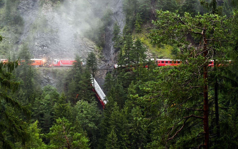 2. A passenger train derailed by massive landslide near Tiefencastel, Switzerland - August 13, 2014.