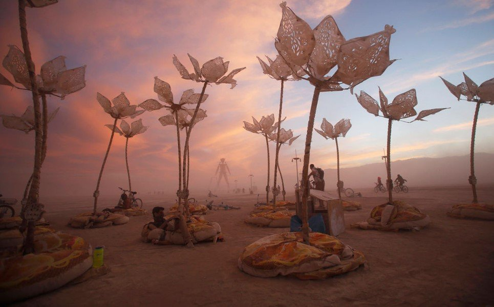 34. The art installation Pulse & Bloom is demonstrated during the Burning Man 2014 in Black Rock Desert of Nevada, - August 29, 2014.