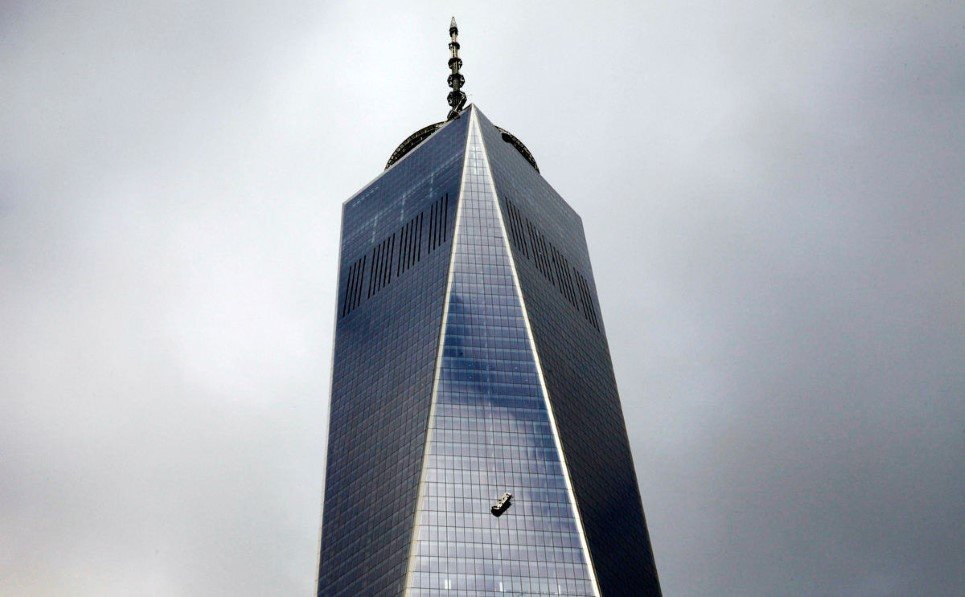 4. Window washers stranded on broken platform outside the 69th floor of New York's World Trade Center - November 12, 2014.