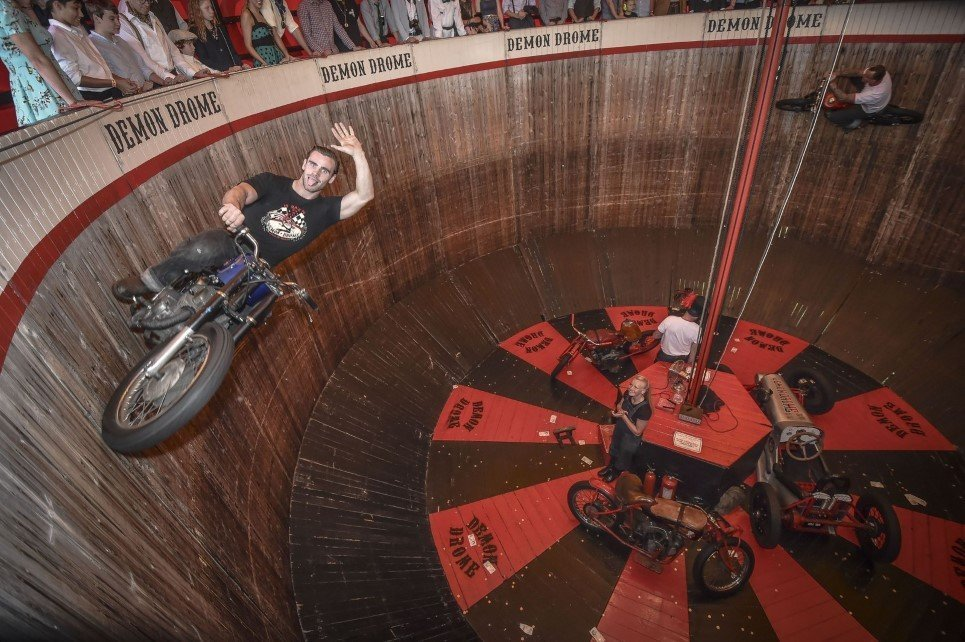"43. Dave Seymour and son Duke ride the wall of death, a family-run ""Demon Drome"" stunt attraction in Cornwall, Britain - September 13, 2014."