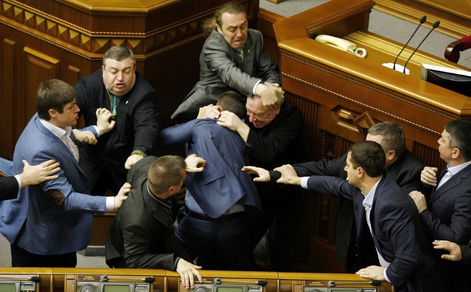 48. Members of Parliament of the Svoboda party fight with those of Communist party in Ukrainian parliament - April 8, 2014.