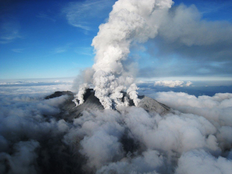 68. White smoke rising from Mount Ontake volcano, Japan - September 27, 2014.
