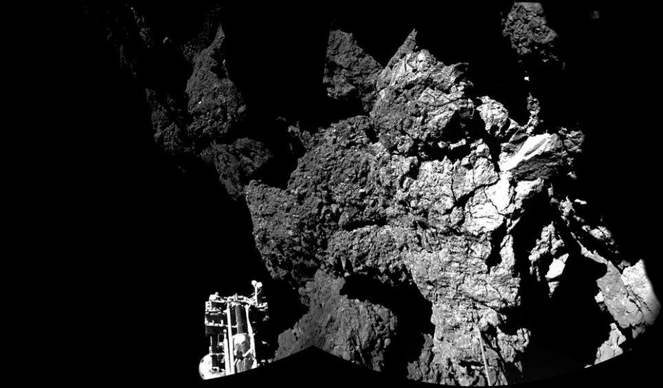 "72. Image of the surface of Comet 67PChuryumov€""Gerasimenko captured by Rosetta's lander Philae's CIVA-P imaging system - November 13, 2014."