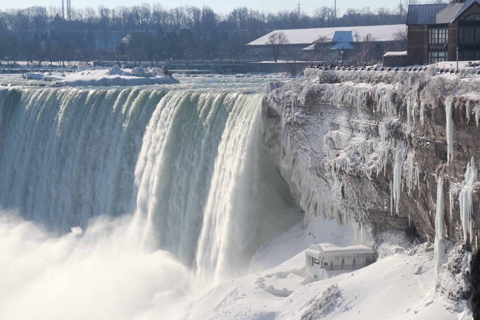 8. A frozen Niagara Falls during the winter deep freeze - March 3, 2014.