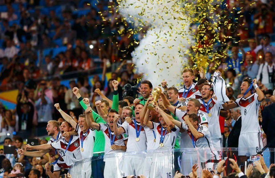 88. German players after winning the 2014 World Cup final against Argentina at the Maracana stadium, Rio de Janeiro - July 13, 2014.