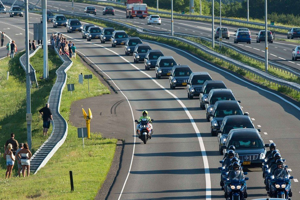 92. A convoy of hearses in the Netherlands carries the unidentified bodies of some of the 298 people who died in flight MH17 catastrophe.