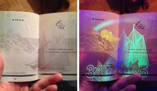 Canadian Passport Under UV Light (7)