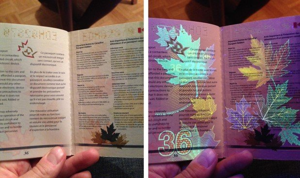 Canadian Passport Under UV Light (8)