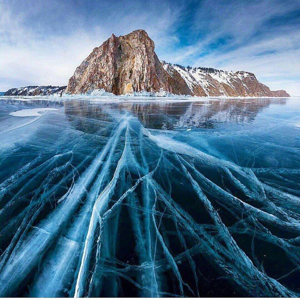Frozen Lake Baikal, Siberia (Russia)