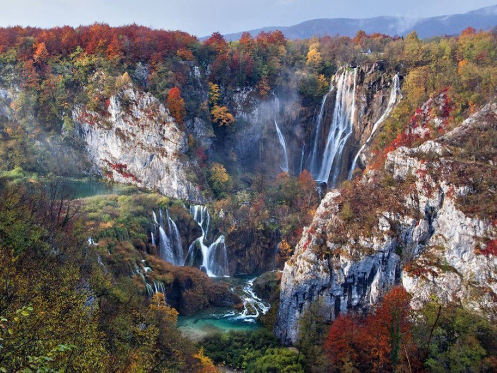 Falls In Autumn Plitvice Lakes National Park, Croatia