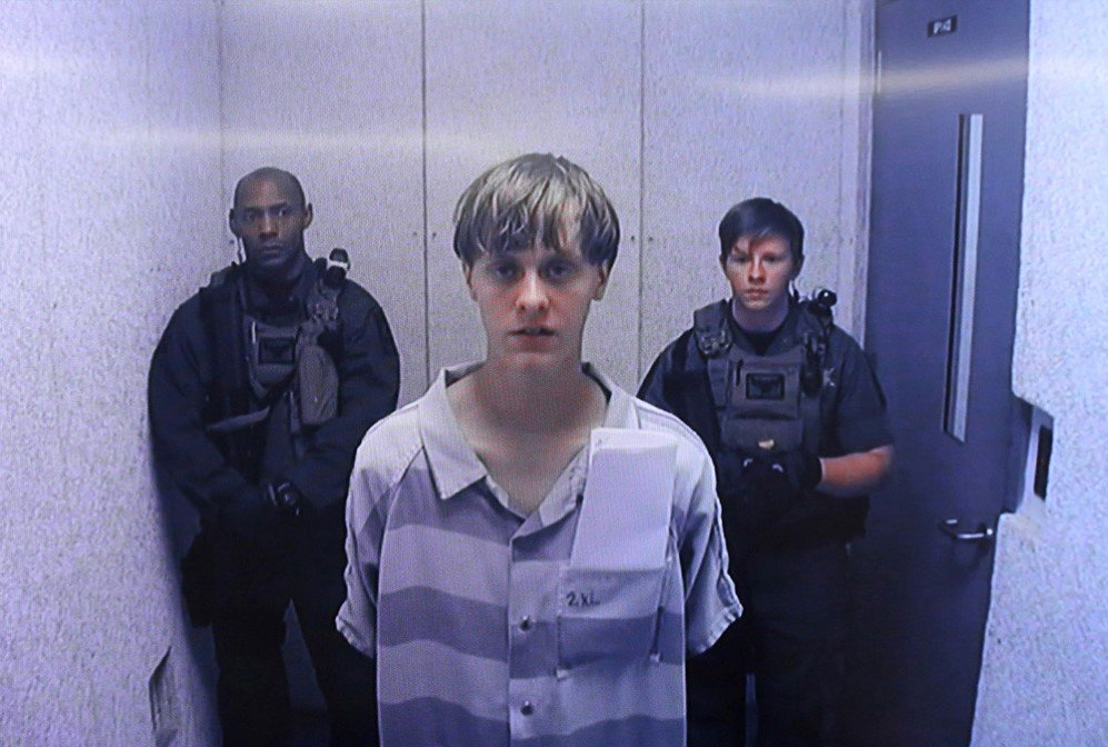 "Dylann Storm Roof appears at Centralized Bond Hearing Court in North Charleston, South Carolina. in connection with an attack on a historic black church in South Carolina in hopes to incite a ""race war"" in the United States. – June 19, 2015"