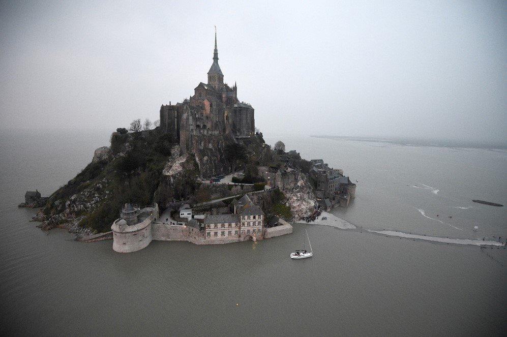 Mont-Saint-Michel surrounded by the sea during high tide – March 20, 2015.