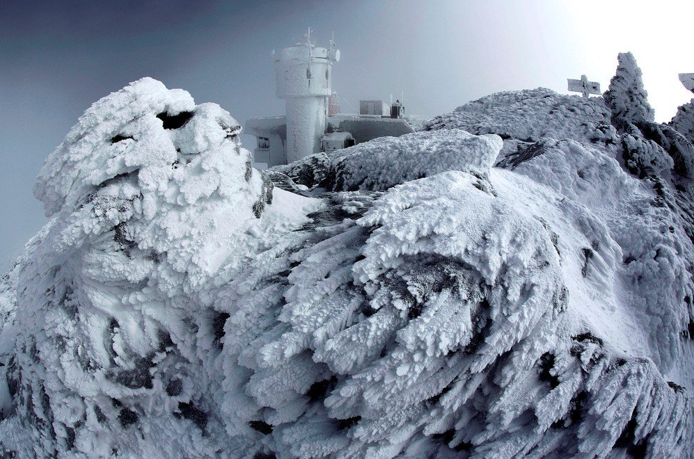 Frost covers rocks on the summit of Mount Washington in New Hampshire –March. 10, 2015. This phenomenon occurs when freezing fog hits stationary objects in frigid conditions.