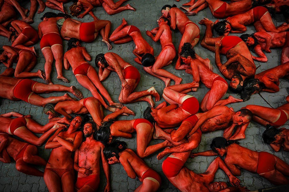 People protest against bull runs a few days ahead of the famous San Fermin Fiestas in Pamplona, Spain –July 4, 2015.