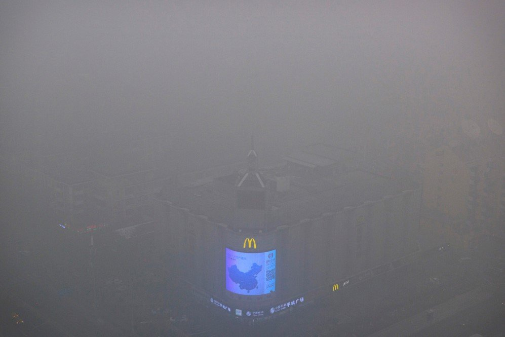 Air pollution soared to record-breaking levels in Beijing, China and was recorded to be 35 times higher than the safety levels – Dec. 1, 2015