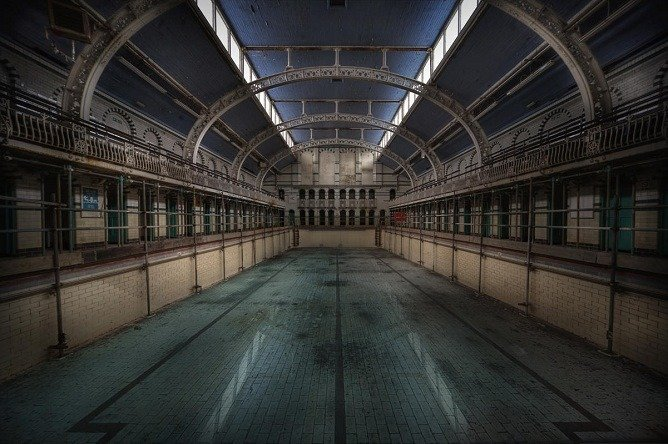 A swimming pool. 'Haunted'