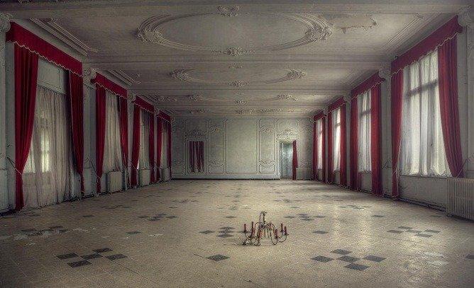 An abandoned hotel's ballroom.