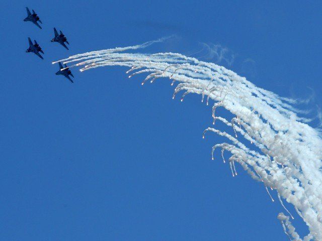 1. Russia's Su-27 fighters perform during the MAKS-2013, the International Aviation and Space Show, in Zhukovsky, outside Moscow on August 27, 2013.