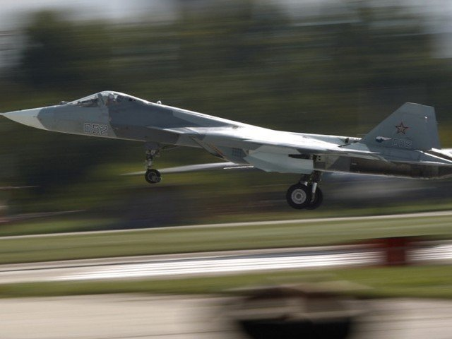 3. Russian Sukhoi T-50 Jet Fighter lands after demonstration flight in MAKS-2013, the International Aviation and Space Show, in Zhukovsky, outside Moscow on August 27, 2013.