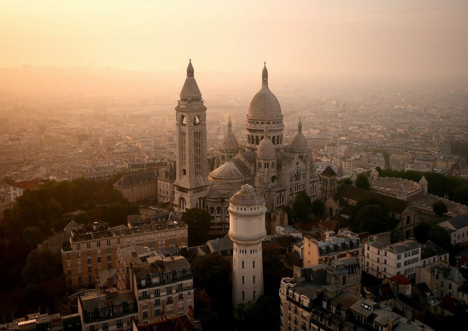 11. A view of Hazy Sacre-Coeur, on the tip of Montmartre, in Paris.