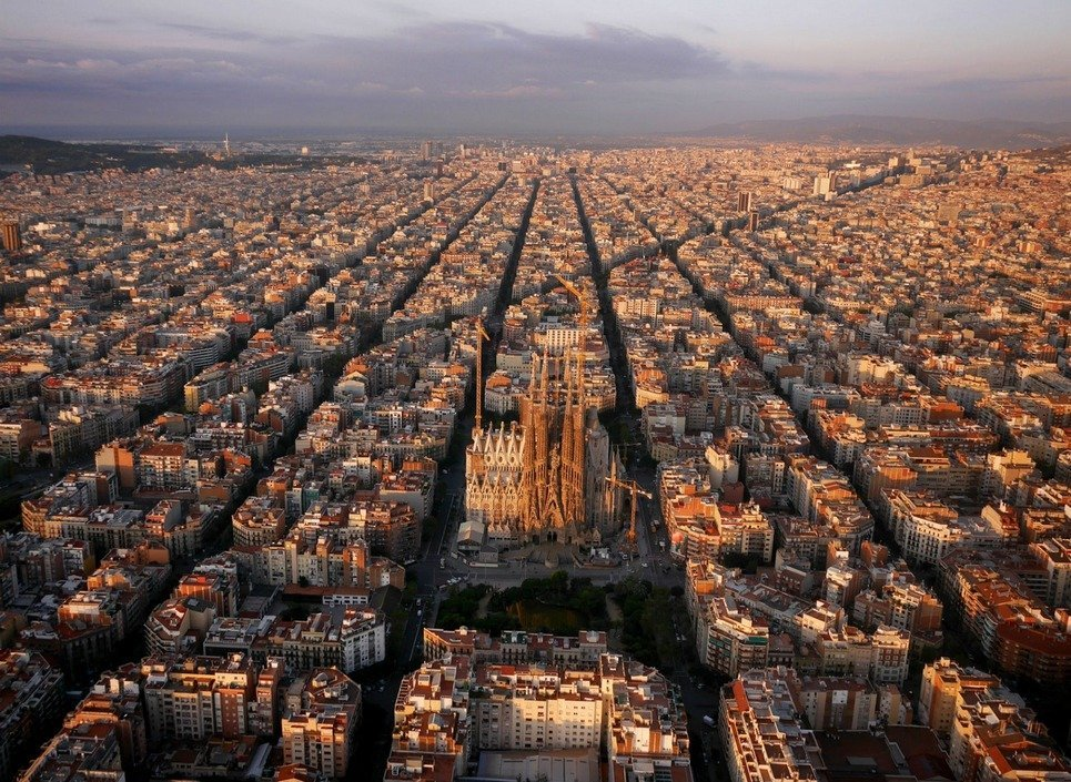 13. The Sagrada Familia in Barcelona seen by a drone