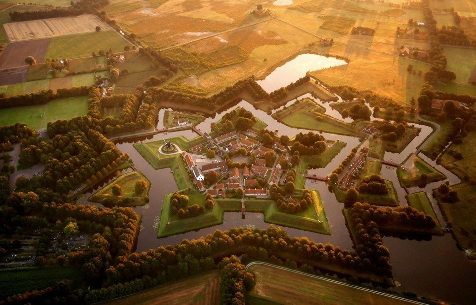 14. The star-shaped village of Bourtange, in eastern Netherlands.