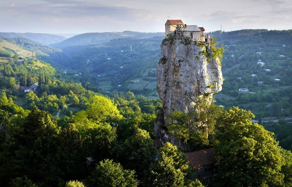 18. The Katskhi Pillar in Georgia has been home to a monk who's been living there as a near-hermit for twenty years.