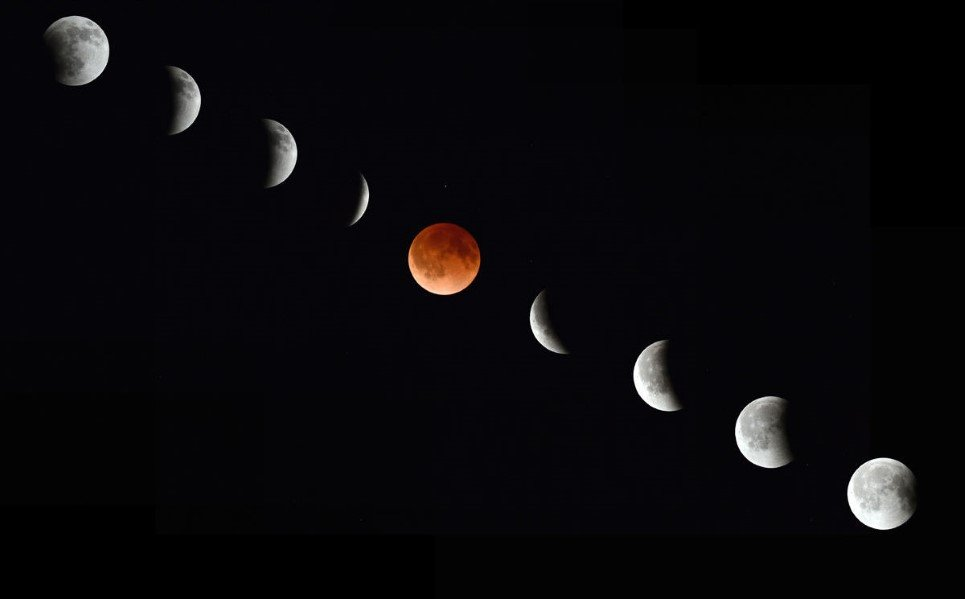 20. A photo showing different phases of lunar eclipse as observed from Magdalena, New Mexico - April 15, 2014.