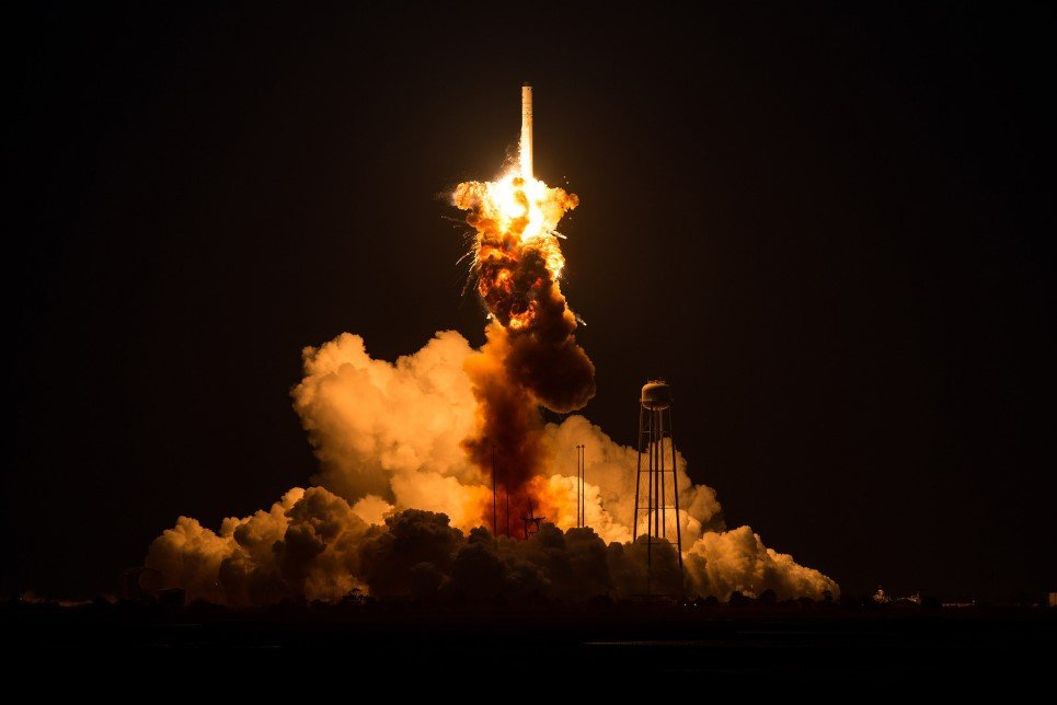 55. The Orbital Sciences Corporation Antares rocket, with the Cygnus spacecraft on board explodes moments after launch from the Mid-Atlantic Regional Spaceport Pad 0A