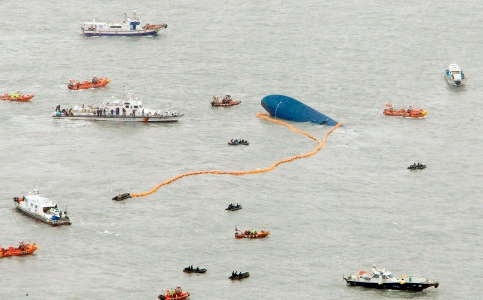 63. Ships take part in a rescue operation around the Seoul passenger ship, which sank in the sea off Jindo - April 17, 2014.