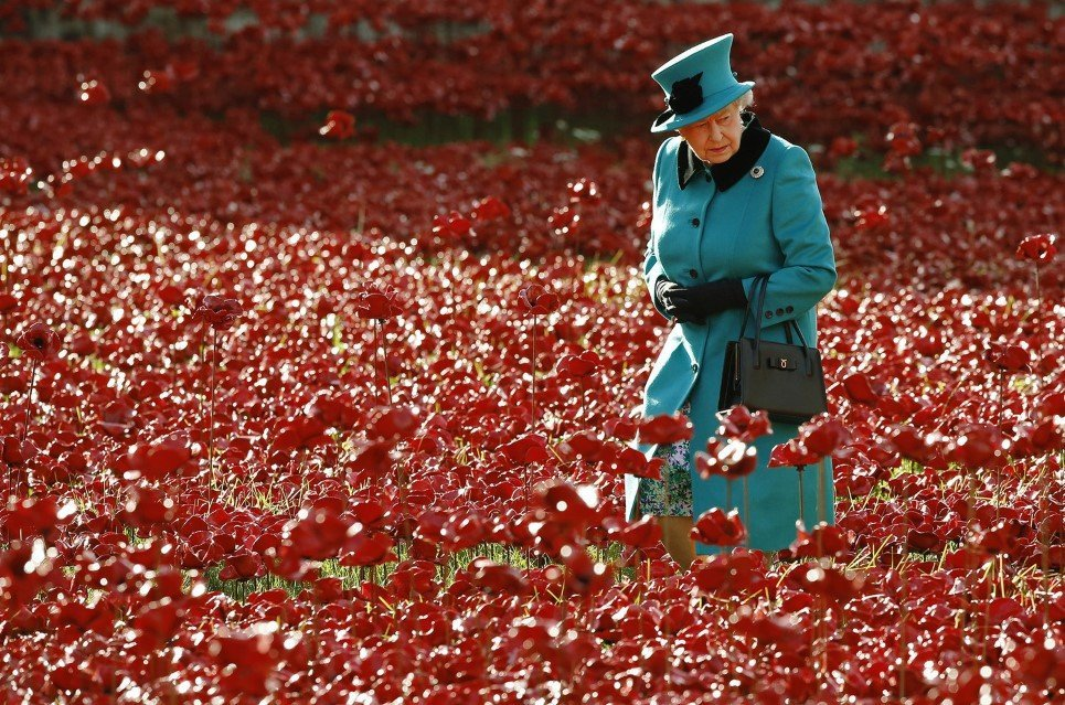 "87. Queen Elizabeth walks through a field of ceramic poppies; a piece of art named ""Blood Swept Lands and Seas of Red"" in London - October 16, 2014."