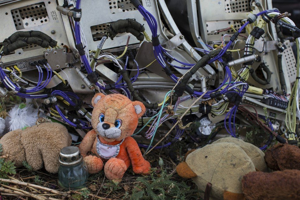 98. A teddy bear is found next to the wreckage at the site of the downed Malaysia Airlines 17 in eastern Ukraine - September 9.