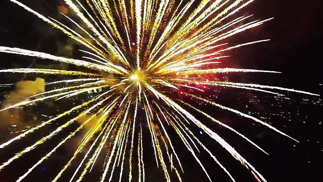 Amazing Up-close Footage of Fireworks Captured With A Drone