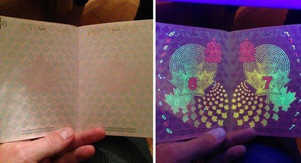 Canadian Passport Under UV Light (1)