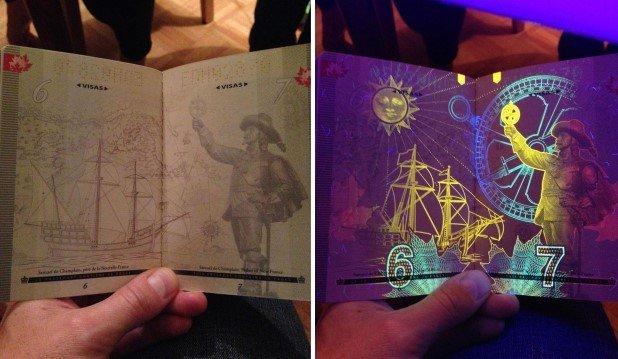 Canadian Passport Under UV Light (4)