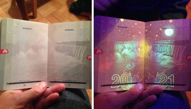 Canadian Passport Under UV Light (5)