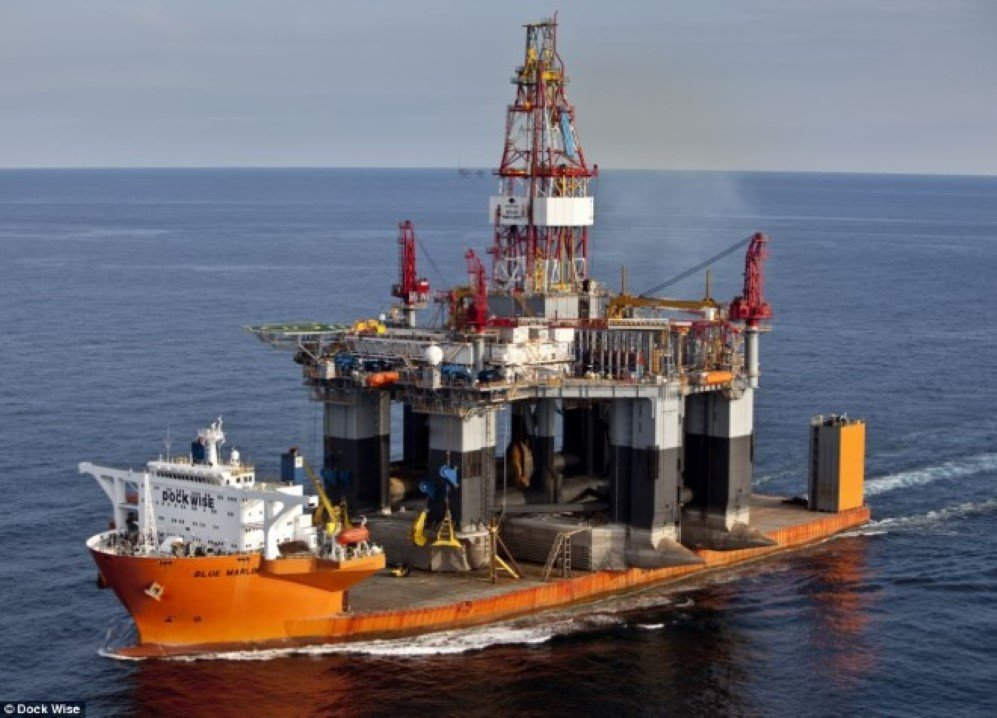 Diamond Offshore's semi-submersible drilling rig, Ocean Monarch being carried from Singapore to Corpus Christi, USA