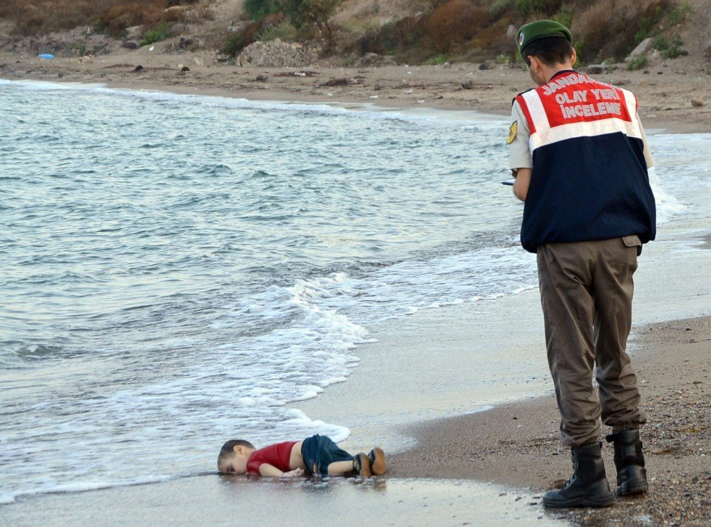 This photo showing the lifeless body of 3-year-old Aylan Kurdi on the seashore, near a beach resort in Bodrum, Turkey captured the world and demanded its attention to the refugee crisis. The little child was a Syrian refugee, who drowned during a failed attempt to sail to Greek island of Kos – Sept. 2, 2015.