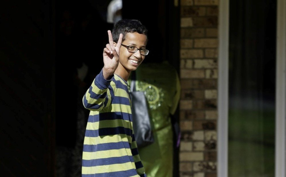 Ahmed Mohamed greets press after he was arrested at his school when a teacher thought a homemade clock he built was a bomb.