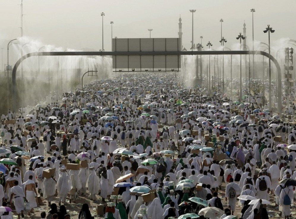 Two million Muslim pilgrims walk on roads in Mecca during the annual Hajj.