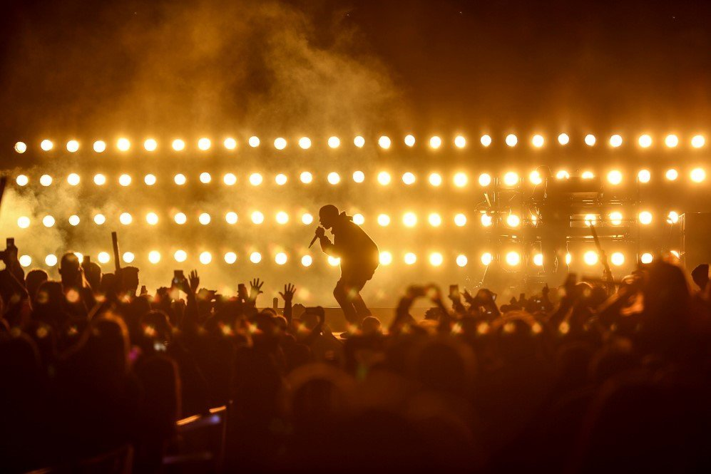 Kanye West performs at Wango Tango 2015 at StubHub Center, Carson, California – May 9, 2015.