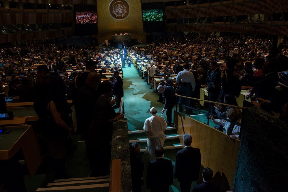 Pope Francis arrives to the General Assembly of the United Nations, p York City during his tour of American – Sept. 25, 2015.