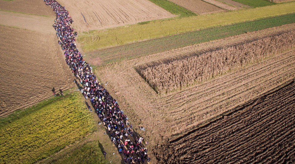 An aerial view of refugees crossing through the fields on foot from Croatia, in Rigonce, Slovenia – Oct. 25, 2015.
