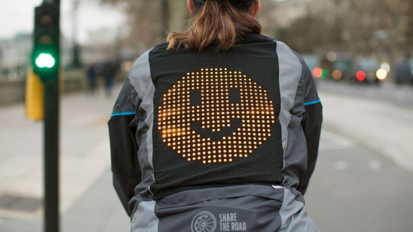 Emoji Jacket serves as road safety