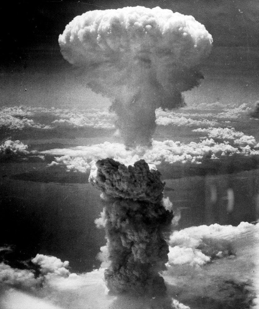 Mushroom cloud over Hiroshima after the atomic bomb attack