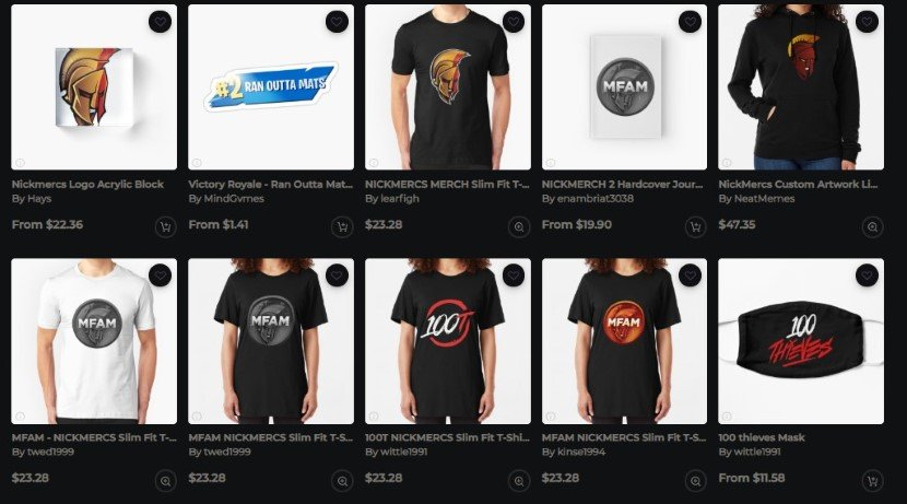NickMercs merchandise
