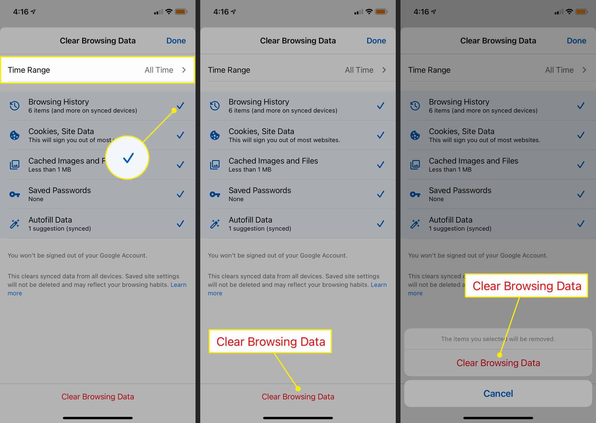 How to clear YouTube cache on iOS chrome