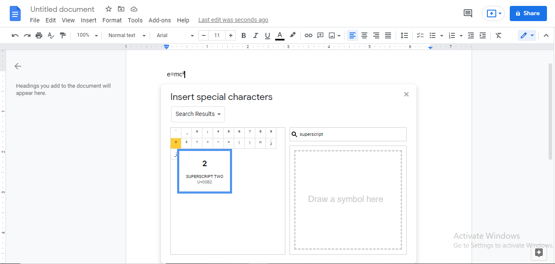 superscript in google docs
