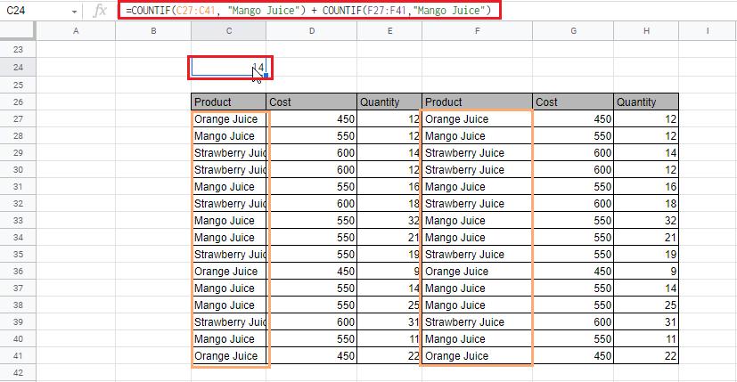 COUNTIF Google Sheets